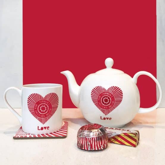 Tunnock's teacake 'Love Tunnock's' fine bone china teapot by Scottish Artist Gillian Kyle