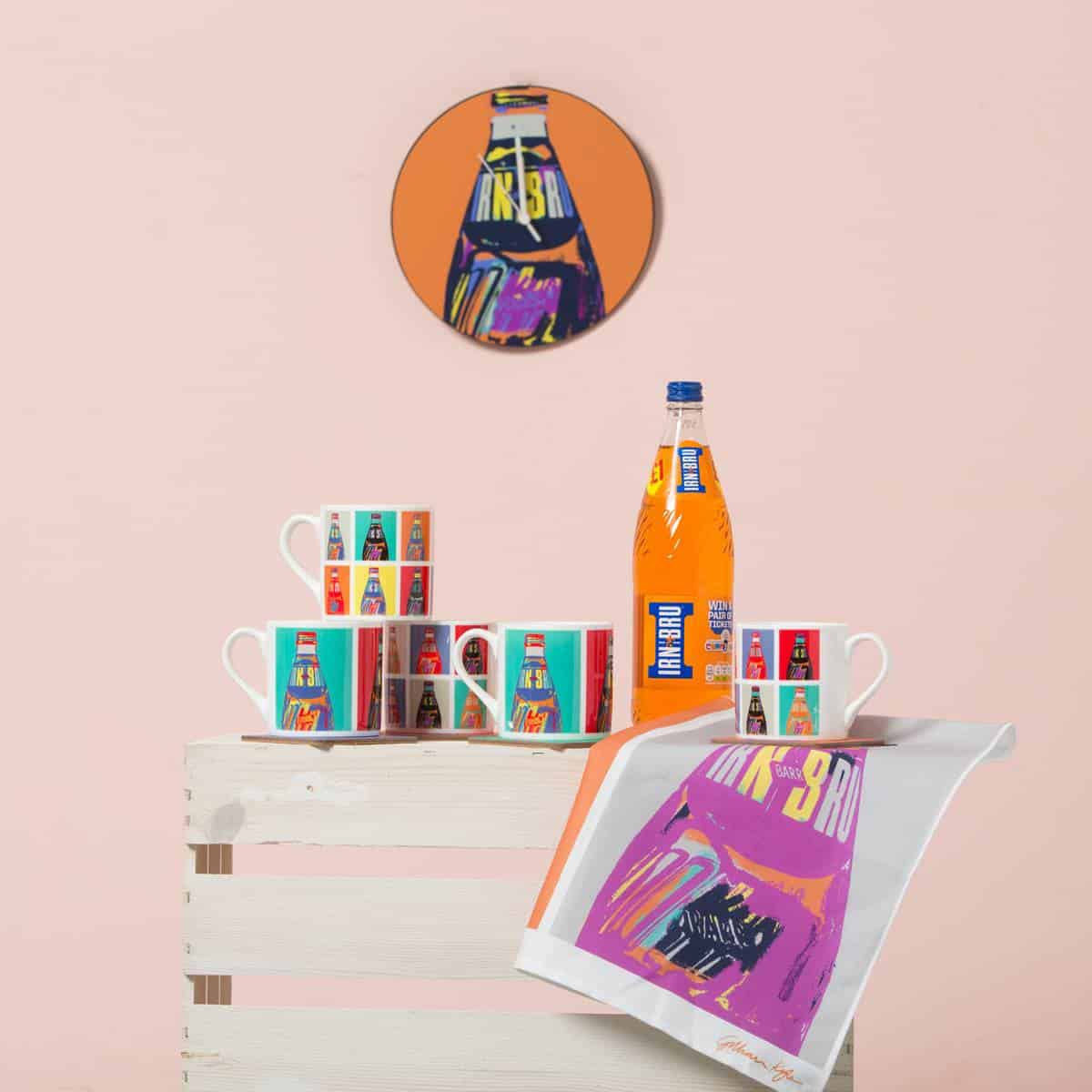 Irn Bru merchandise mugs, coasters, tea towel and clock