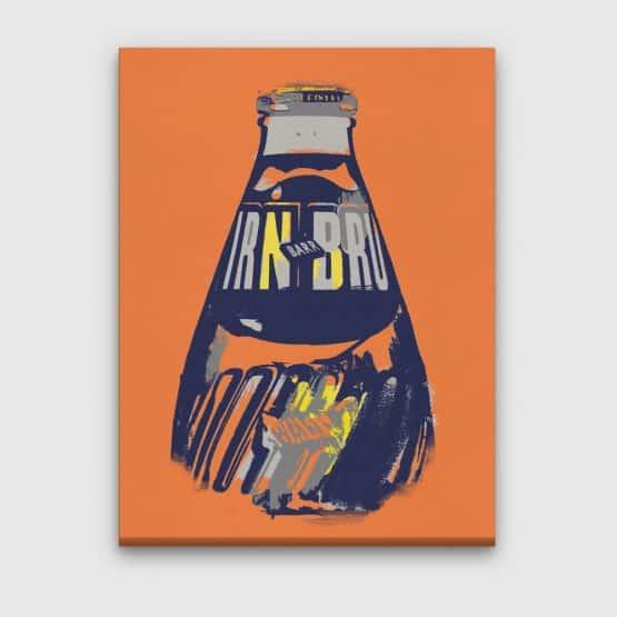 IRN-BRU canvas in orange by Gillian Kyle