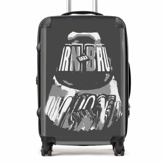 Irn-Bru suitcase in grey from Scottish artist Gillian Kyle