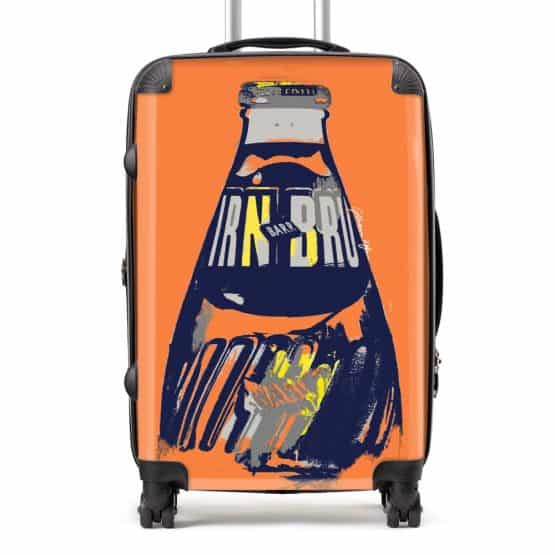 Irn-Bru suitcase in orange from Scottish artist Gillian Kyle
