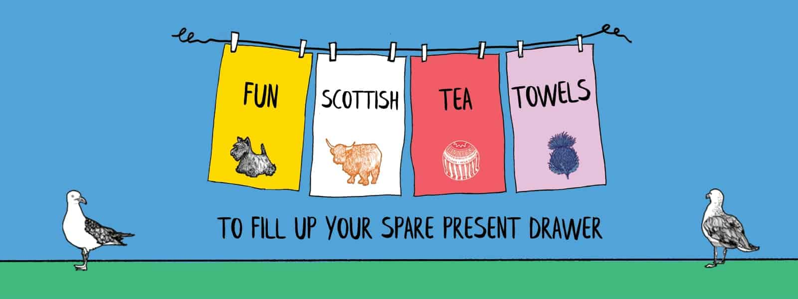Scottish tea towels from Gillian Kyle