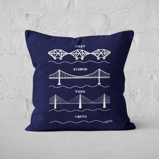 the 3 Forth Bridges cushion