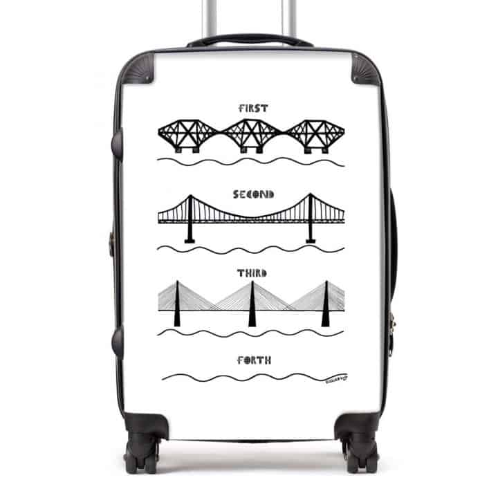 Forth Bridges Suitcase in white by Gillian Kyle