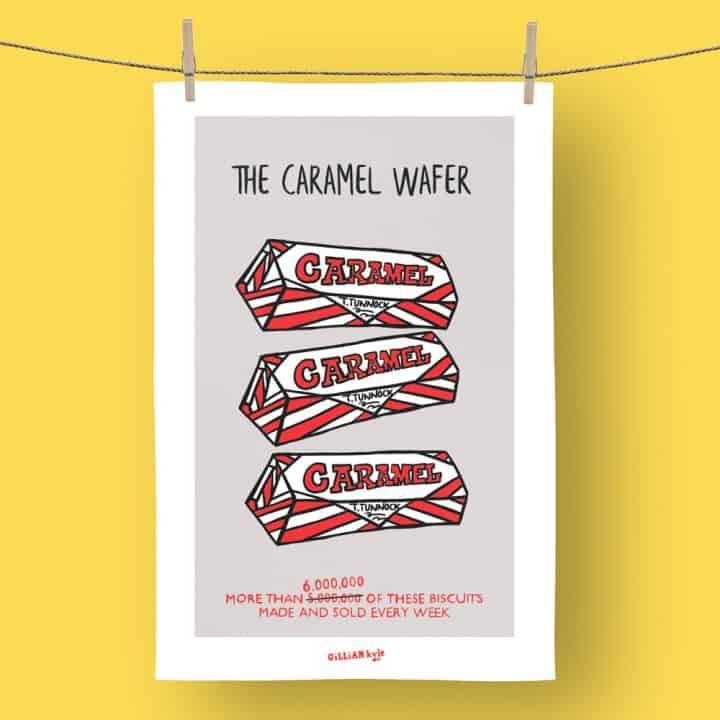Tunnock's caramel wafer tea towel
