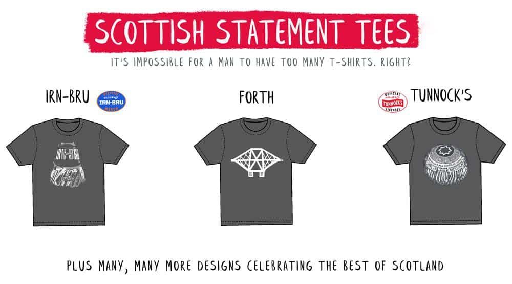 Scottish t shirts and Scottish gifts for him by Scottish artist Gillian Kyle