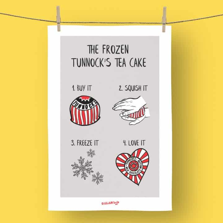 Tunnock's Frozen Tea Cake Tea Towel by Gillian Kyle