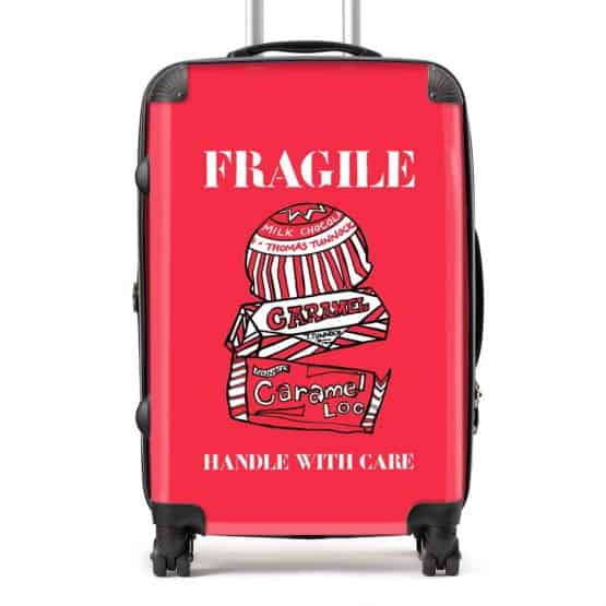 Tunnock's Suitcase with Tunnocks Biscuits Handle with Care design