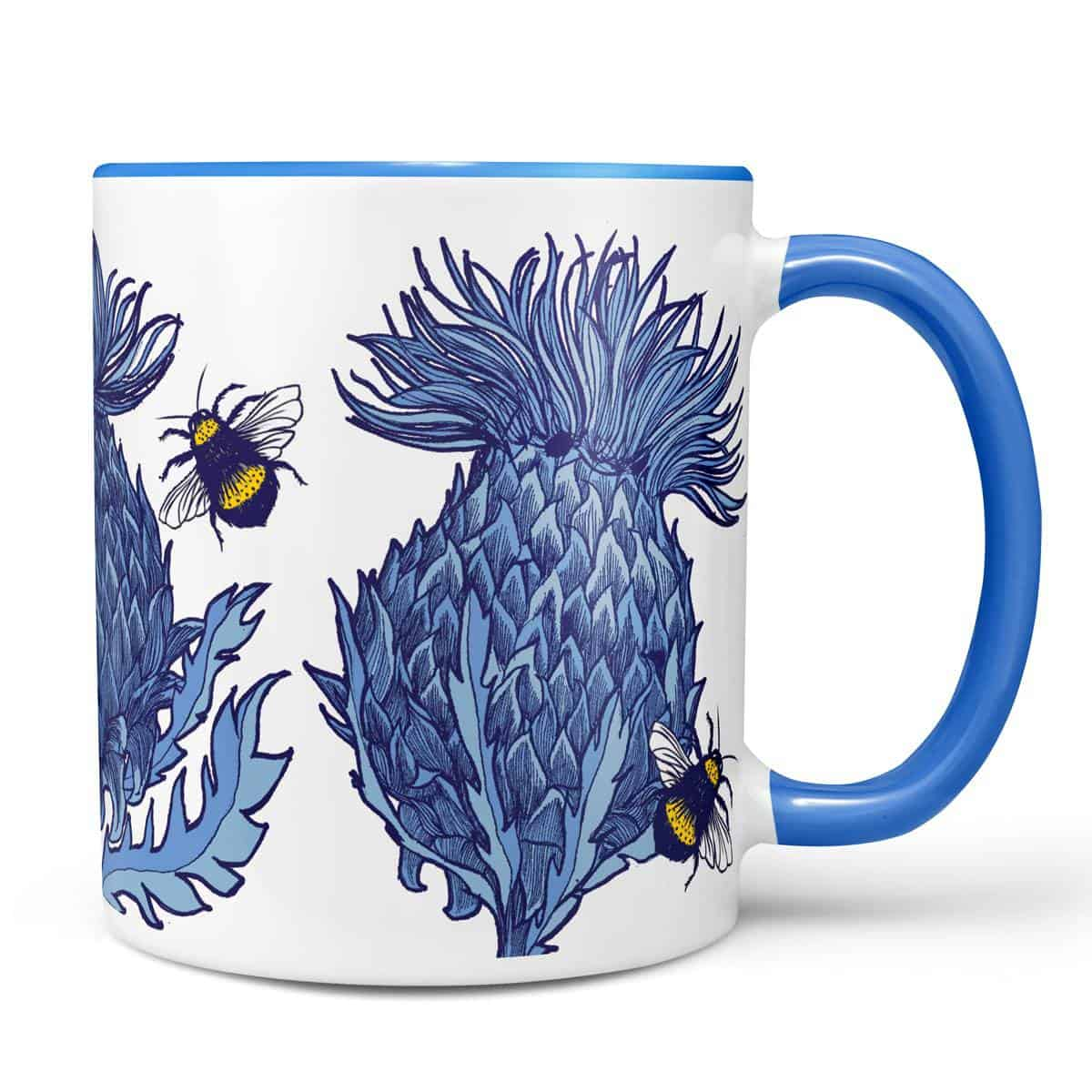 Scottish Thistle Mug in blue by Scottish artist Gillian Kyle