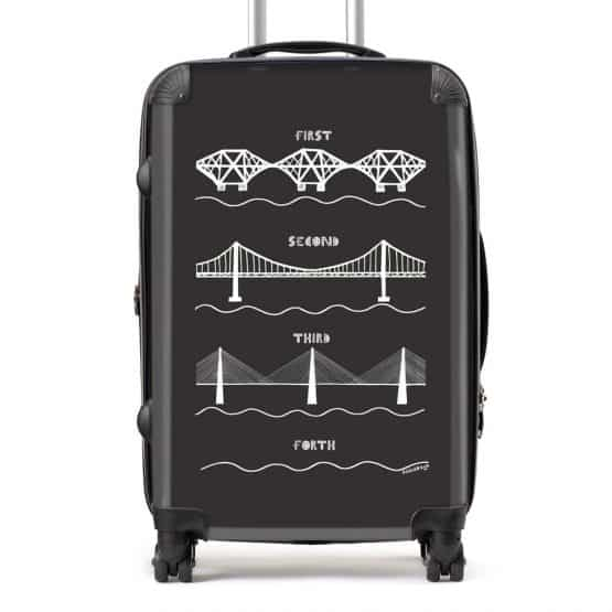 Forth Bridges Suitcase in charcoal by Gillian Kyle