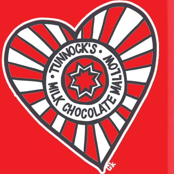 Tunnocks tea cake heart design by Gillian Kyle