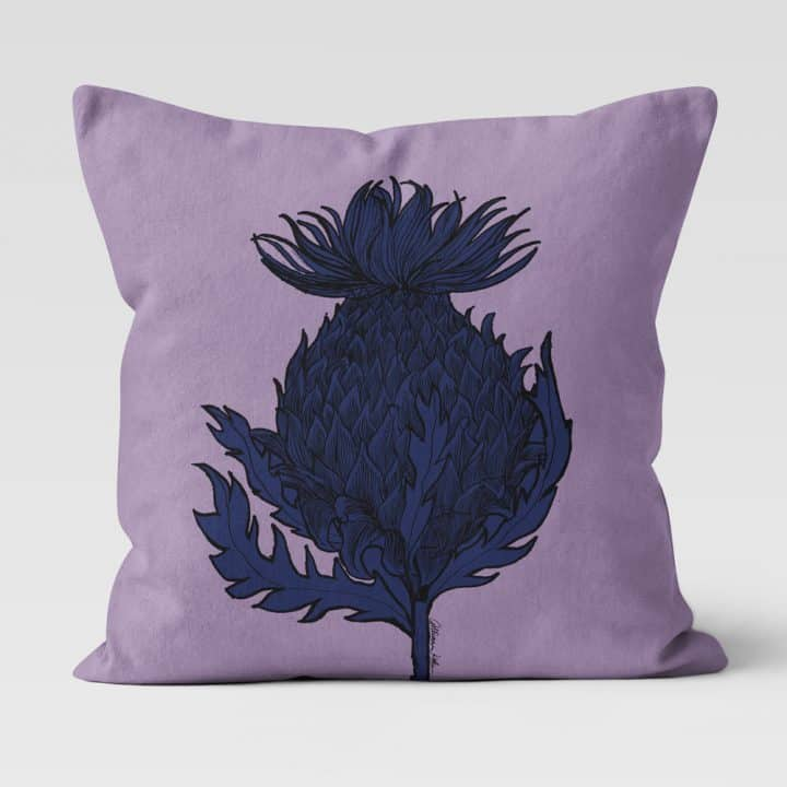 Scottish Thistle Cushion in Lilac by Scottish Artist Gillian Kyle