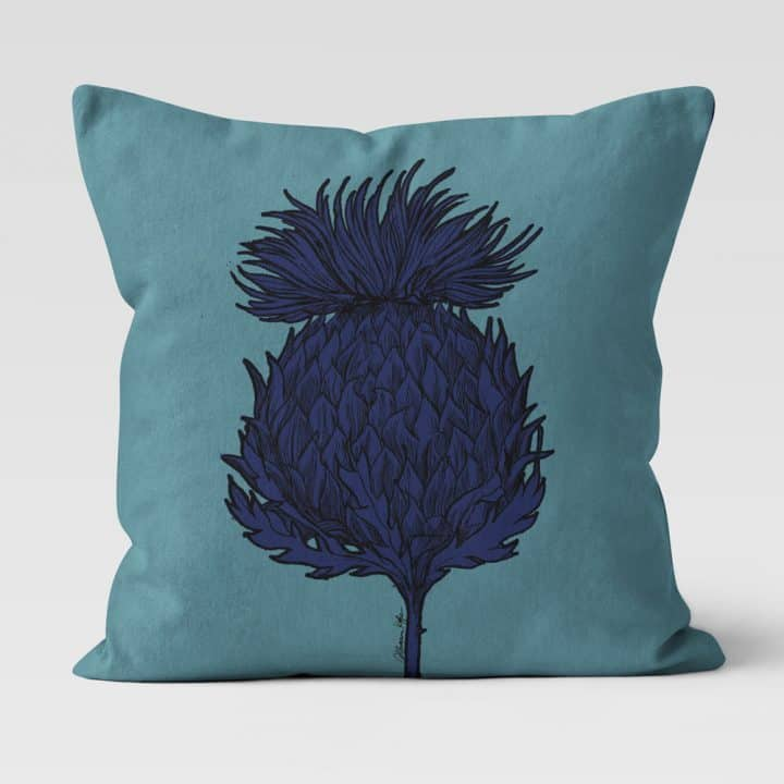 Scottish Thistle Cushion in Sea Green by Scottish Artist Gillian Kyle
