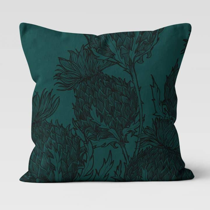 Scottish Thistle cushion in Black Thistle design, emerald, by Gillian Kyle