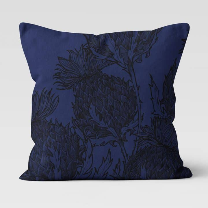 Scottish Thistle cushion in Black Thistle design, midnight, by Gillian Kyle
