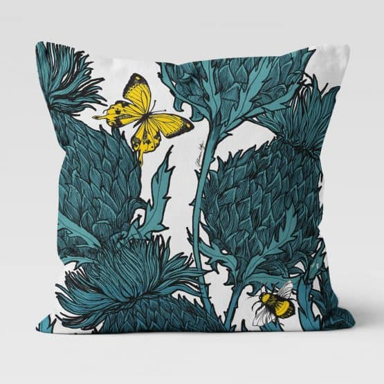 Jaggy Beasts Scottish Thistle Cushion by Scottish Artist Gillian Kyle