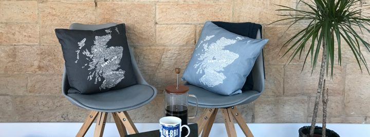 Scottish map cushions by Gillian Kyle