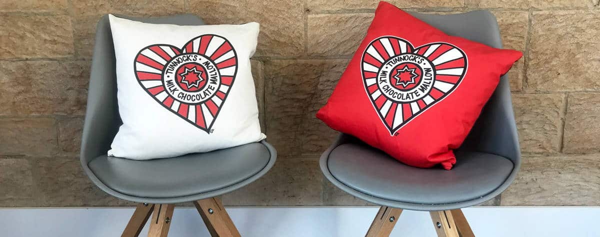 Tunnocks heart cushions by Gillian Kyle