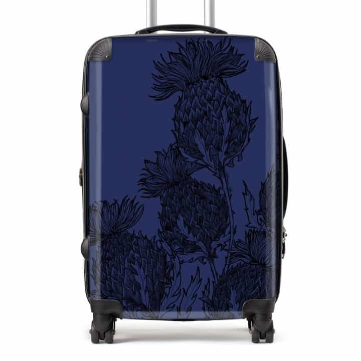 Scottish Thistle suitcase in midnight blue