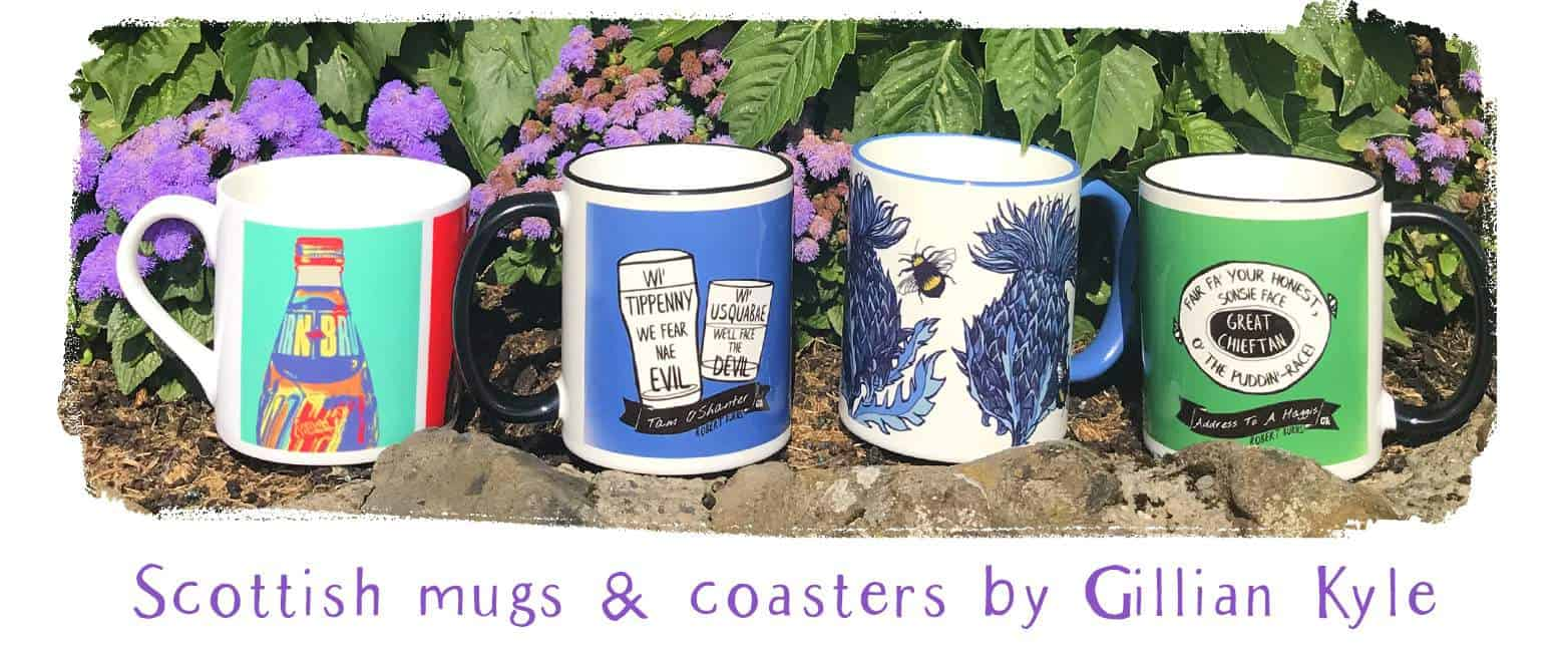 Scottish mugs and coasters by Gillian Kyle