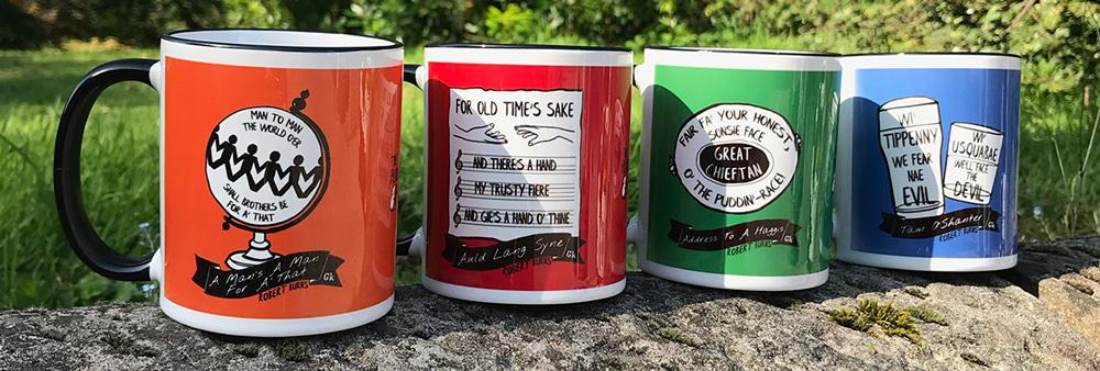 Robert Burns Scottish mugs by Gillian Kyle