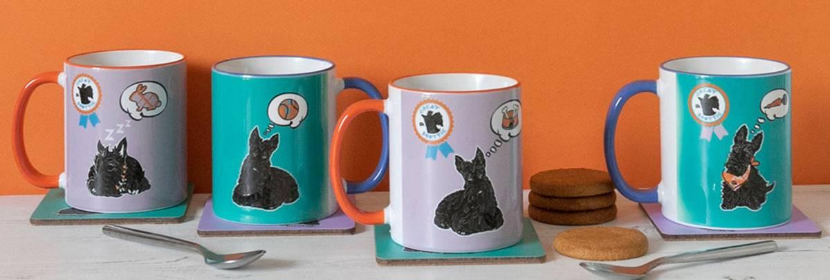 Scotties and Westies Scottish Mugs by Gillian Kyle