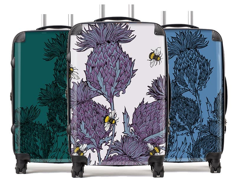 Scottish Thistle suitcases by Gillian Kyle