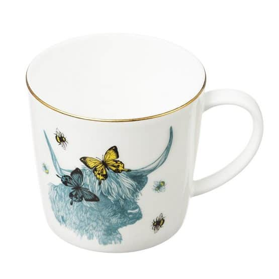 Highland Cow Dainty Gold-Rim Mug