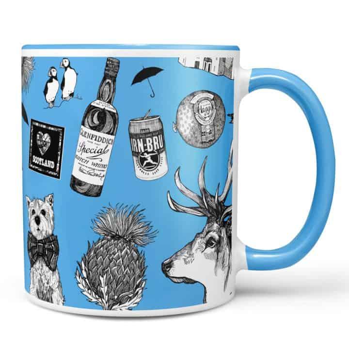 Love Scotland Scottish Icons Blue Mug