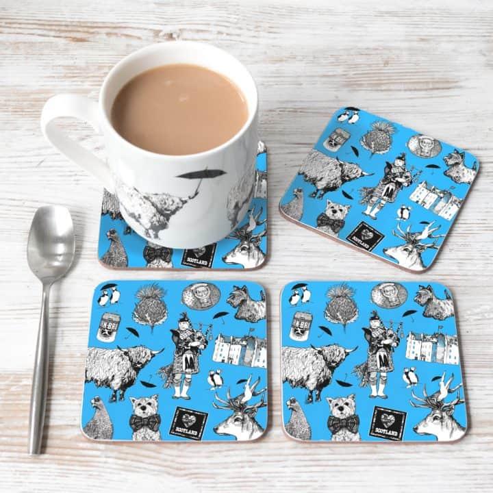 Love Scotland Blue Coasters