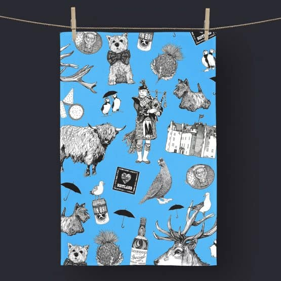 Love Scotland Scottish Icons Blue Tea Towel