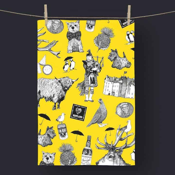 Love Scotland Scottish Icons Yellow Tea Towel