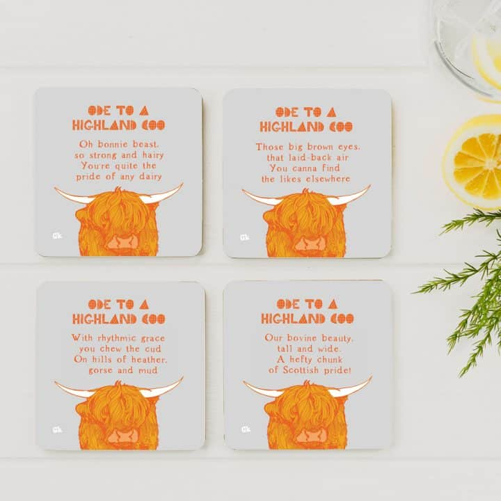Ode to a Highland Cow coasters