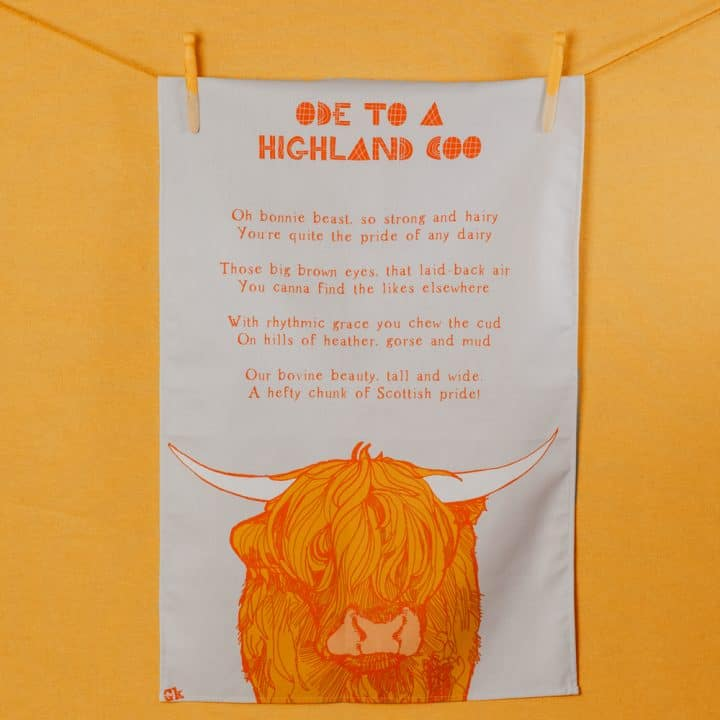 Ode to a Highland Cow tea towel