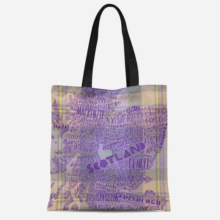 Scotland Map tartan tote bag