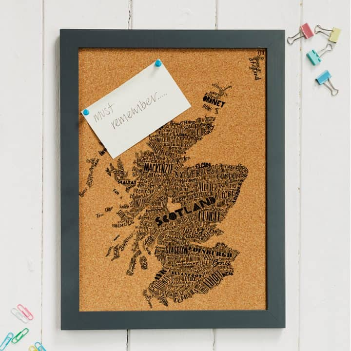 Mapped Out Scotland Map cork pin board
