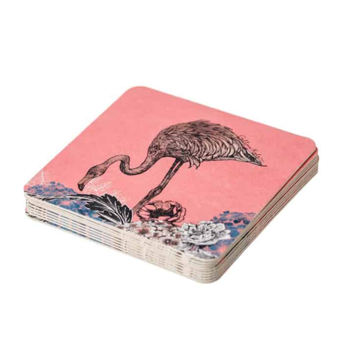 Flamingo Floral Paper Coasters