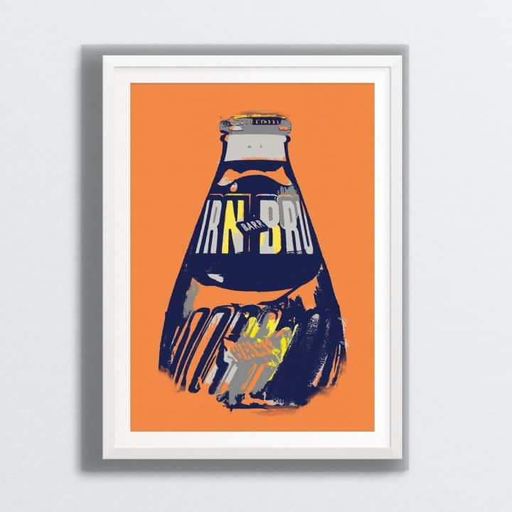IRN-BRU wall art print by Gillian Kyle