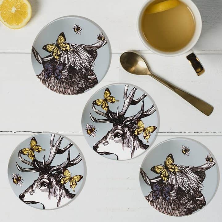 Stag and Cow round coaster set by Gillian Kyle