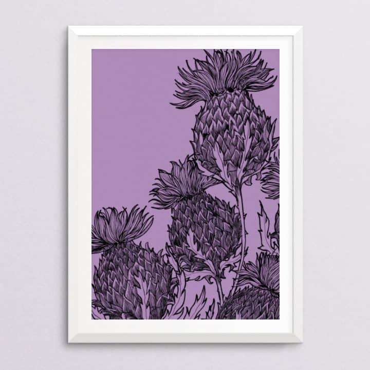 Black Thistle Print in lilac by Gillian Kyle