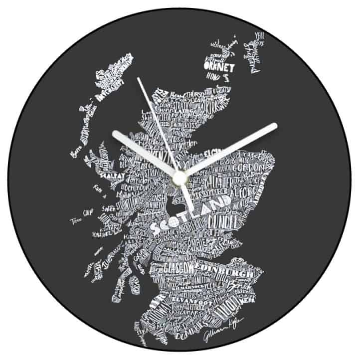 Mapped Out Scottish Typographic Map Clock by Gillian Kyle