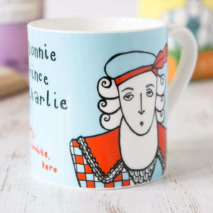 Bonnie Prince Charlie china mug by Gillian Kyle
