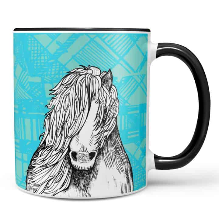 Tartan pony Shetland pony mug by Gillian Kyle