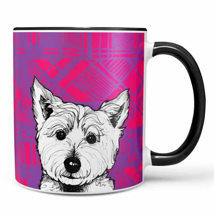 Tartan Coo Highland Westie mug by Gillian Kyle